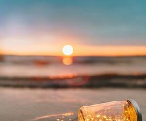 light, beach, and sunset image
