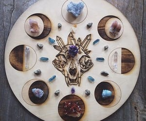 moon phases, crystal, and goddess image