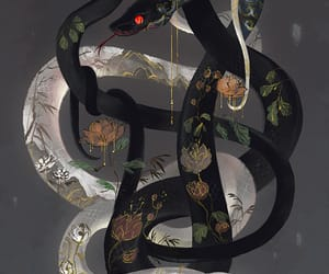 white, red eyes, and snake image