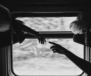 train, black and white, and couple image