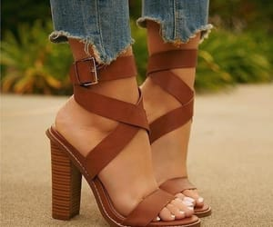brown, sandals, and chic image