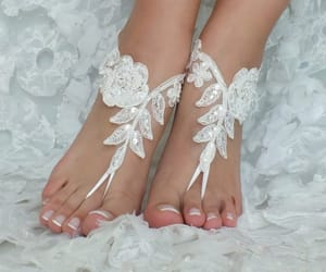etsy, ivory barefoot, and lace shoes image