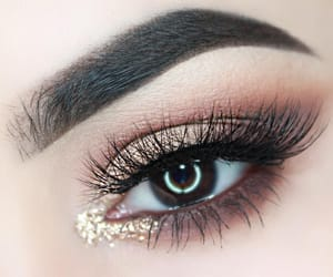 eyeshadow, golden, and lens image