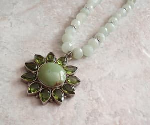 etsy, vintage necklace, and green gemstone image