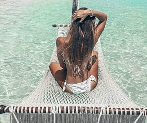 beach, girl, and relax image