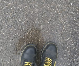 black, black and yellow, and dr martens image