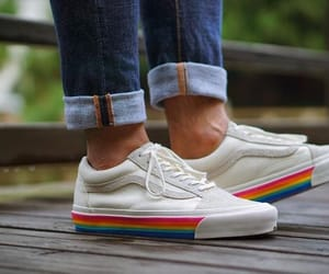 shoes, rainbow, and vans image