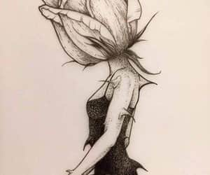 rose, drawing, and girl image