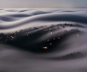 night, city, and fog image