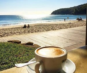 beach, coffee, and morning image