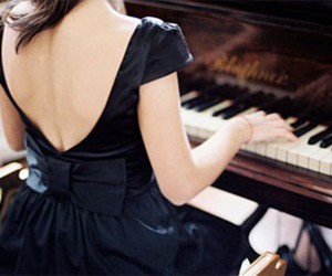 dress, girl, and piano image