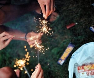 friends, fireworks, and light image
