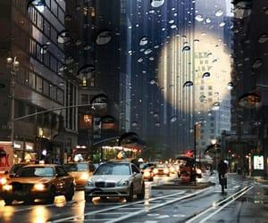 city, rain, and new york image