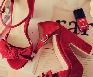 red, red heels, and chanel nail polish image