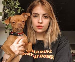 redhead, dog, and girl image