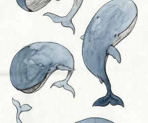 art, whale, and watercolor image