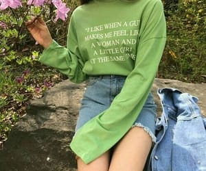 girl, fashion, and green image