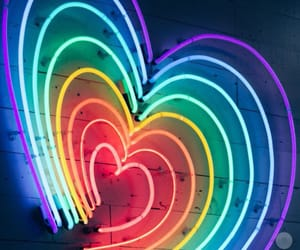 heart, light, and rainbow image