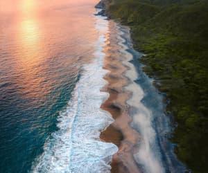 beach, sunset, and mar image
