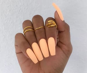 nails, orange, and beauty image