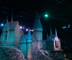 castle, night, and harry potter image