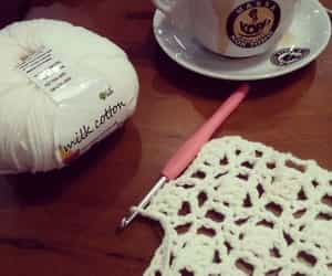 coffee, crochet, and relaxing image