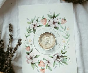art, flowers, and coffee image