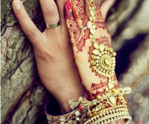 wedding, couple, and henna image