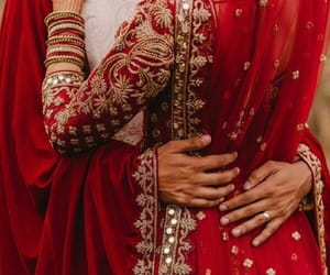 couple, wedding, and red image