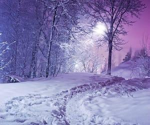 snow, winter, and purple image