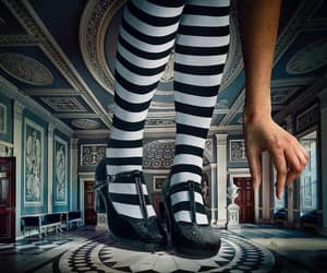 alice in wonderland, photography, and stripes image