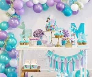 baloons, cake, and mermaid image