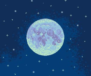 8bits, blue, and full moon image