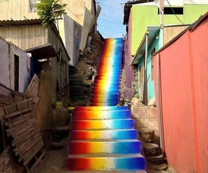 rainbow, art, and stairs image