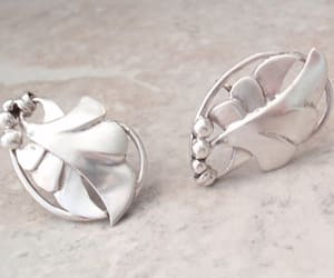 etsy, sterling silver, and leaf earrings image