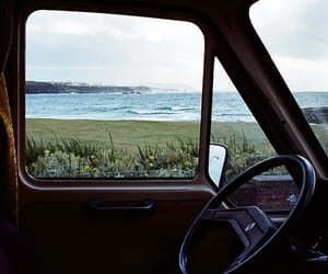 car, sea, and nature image