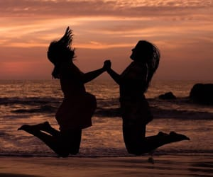 beach, bff, and friendship image