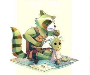 rocket, friends, and baby groot image