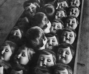 doll, creepy, and black and white image