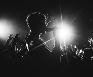 black and white, crowd, and performing image