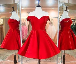 party dress, red dress, and short dress image