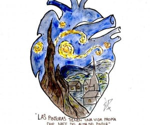 heart, starry night, and vincent van goh image