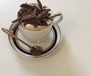 cup, hot chocolate, and spoon image