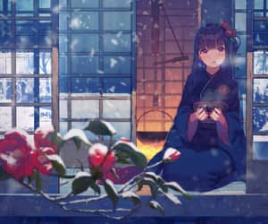 anime girl, sitting, and winter image