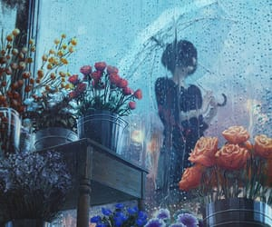 rain, art, and flowers image