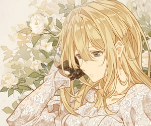 anime girl, blonde hair, and flowers image