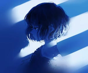 anime, blue, and art image