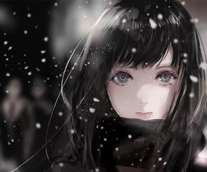 anime girl, black eyes, and close up image