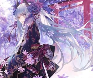 anime girl, petals, and shrine image