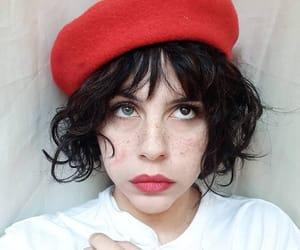 bangs, beret, and eyes image